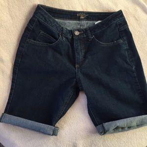 Lee | women's Bermuda long shorts, jean denim dark